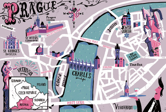 illustrated map of Prague,