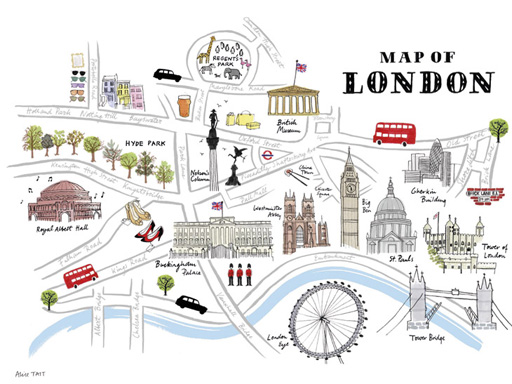 10 of the best map illustrations Lovell Johns – Map of London Landmarks