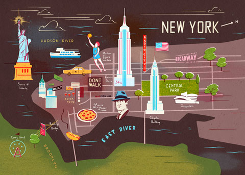 a contemporary map with bold pictures and a distinctive 1950s style the image highlights elements of life in new york