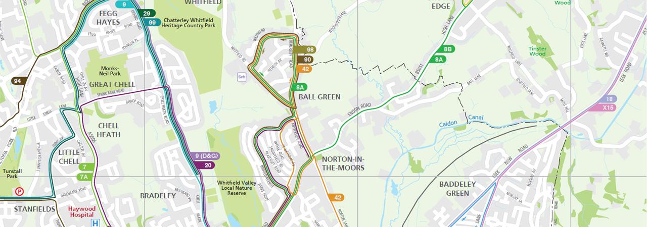Printed Bus Map for StokeonTrent Lovell Johns Lovell Johns