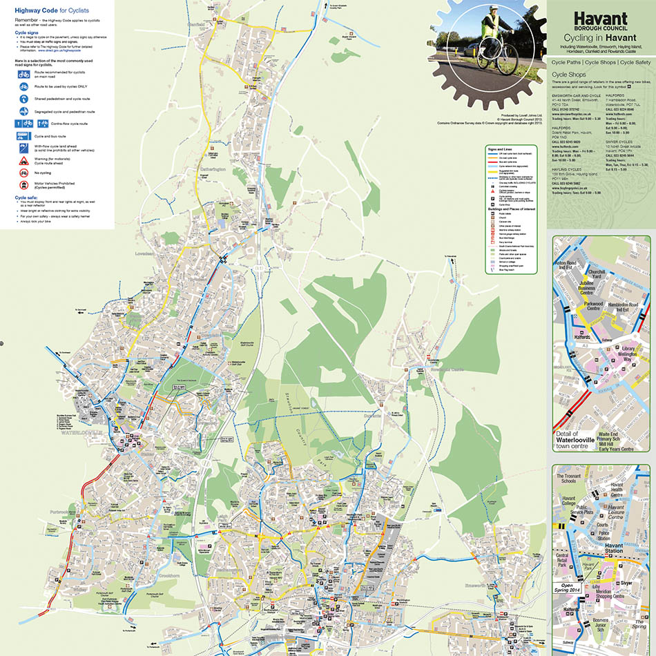 Havant Borough Council Cycle Map and Guide Lovell Johns Lovell Johns