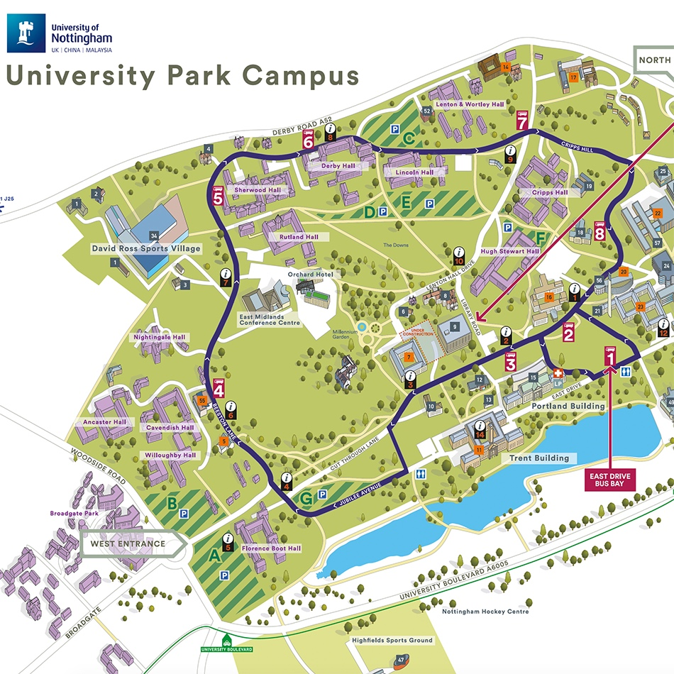 3D illustrated Campus Maps for University of Nottingham Map
