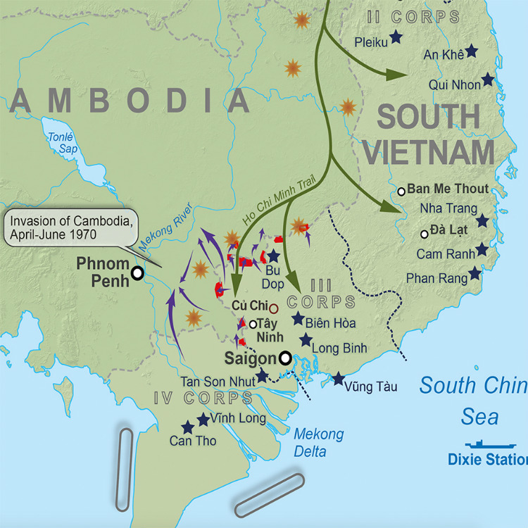 Vietnam War Battle Map for Publishers Maps Created for Books