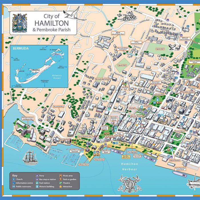 Lovell Johns Case Study Image Illustrated map Hamilton Bermuda 1